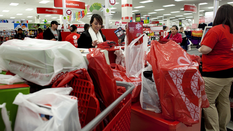 The scene at the registers in a Braintree, Mass., Target store on Black Friday.