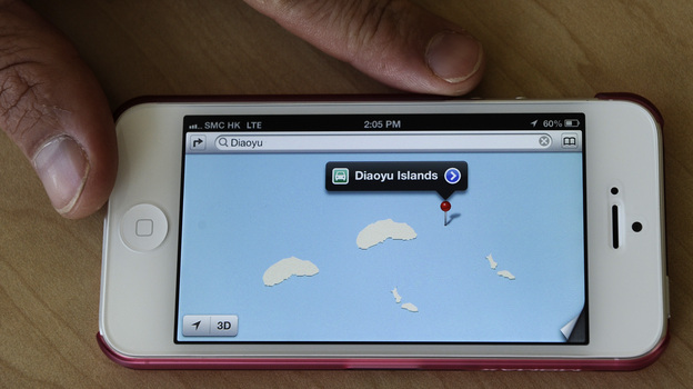 Apple's new iPhone 5 may have been criticised for its glitch-ridden new maps program, but it may have inadvertently provided a diplomatic solution to China and Japan's ongoing row over disputed islands. When a user searches for the Tokyo-controlled Senkaku islands in the East China Sea, claimed by Beijing under the name Diaoyu, two sets of the islands appear alongside each other. (AFP/Getty Images)