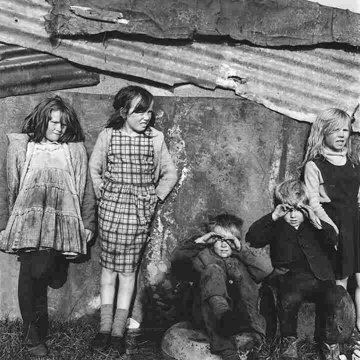 Children at a tin shed, Cherry Orchard