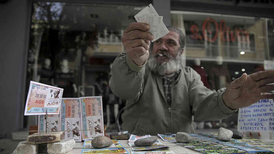 A man sells lottery tickets in Nicosia, the capital of Cypru