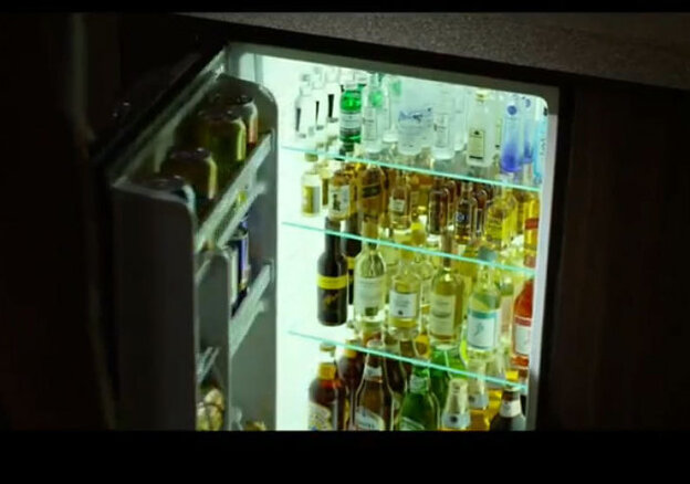 A screenshot from the trailer of Flight, showing the fully stocked (some would say too fully stocked) minibar.