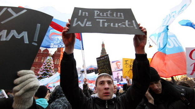 """Activists from the Young Guard, which supports Russian President Vladimir Putin, have been protesting the Mormon church in Russia, calling it a """"totalitarian cult."""" (Getty Images)"""