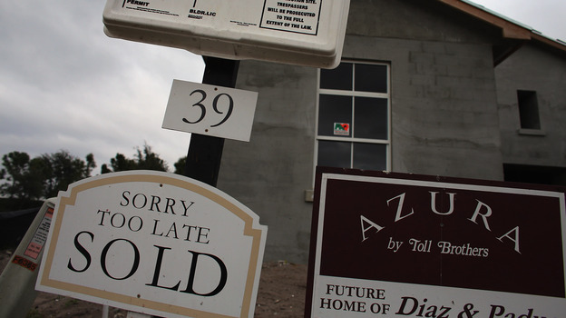 A sold sign at a housing development in Boca Raton, Fla., earlier this month. (Getty Images)
