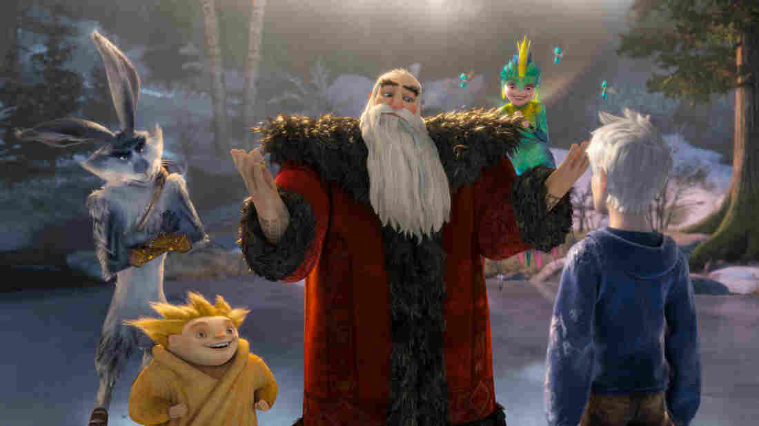 Bunnymund (Hugh Jackman, from left), Sandman, North (Alec Baldwin) and Tooth (Isla Fisher) welcome Jack Frost (Chris Pine) in DreamWorks Animation's Rise of the Guardians.