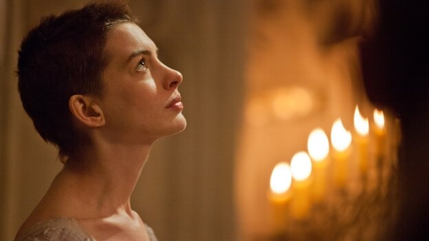 In the first act of Les Miserables, factory worker Fantine (Anne Hathaway) loses her job and is force