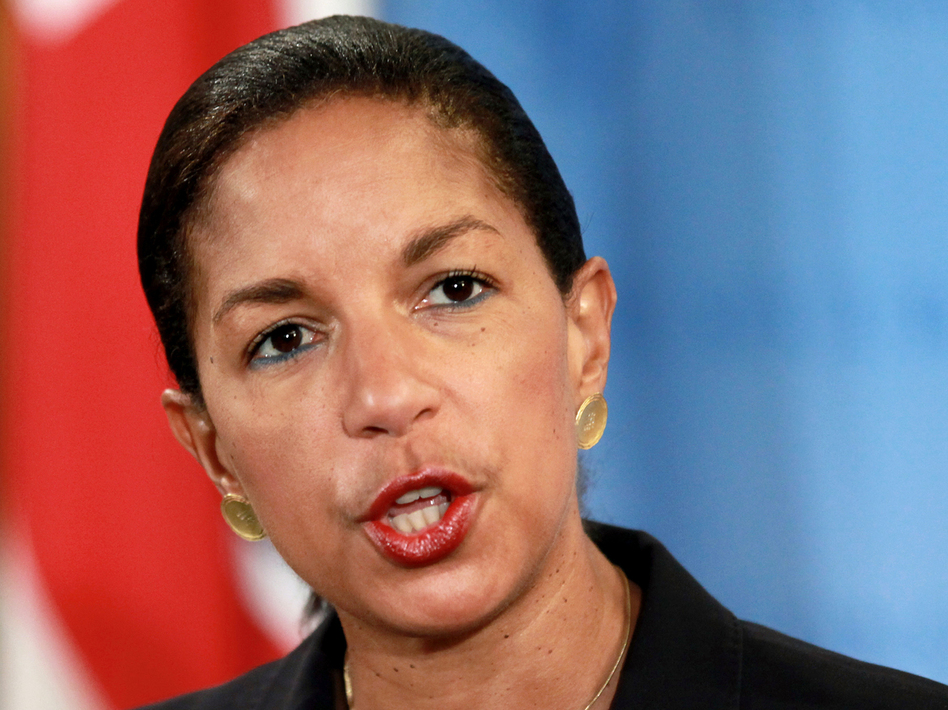 Ambassador Susan Rice speaks at U.N. headquarters on April 14.
