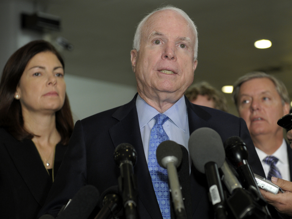 Republican Sens. John McCain, Kelly Ayotte and Lindsey Graham speak Tuesday after a meeting with U.N. Ambassador Susan Rice. (AP)