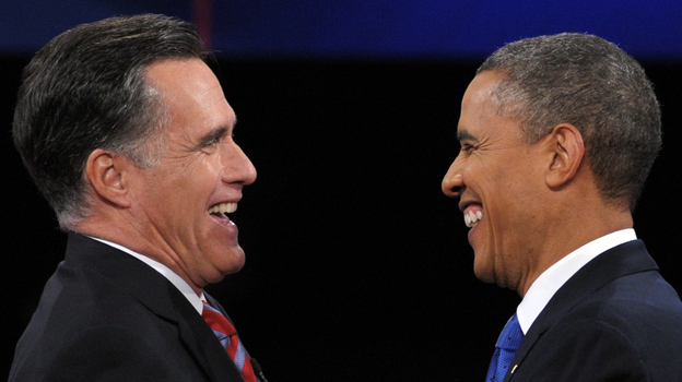 President Obama and Republican presidential candidate Mitt Romney the last time they got together, at their Oct. 22  presidential debate in Boca Raton, Fla. (AFP/Getty Images)
