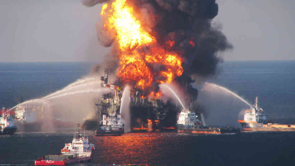 The Deepwater Horizon oil rig burned