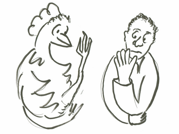 Chicken and man drawing.