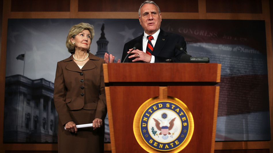 Kay Bailey Hutchison of Texas and Jon Kyl of Arizona on Tuesday introduced a bill that would allow illegal immigrants to stay in the country, but would not offer them a path to citizenship. (Getty Images)