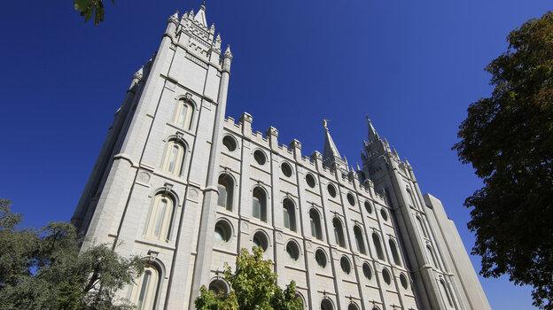 The historic Mormon Salt Lake Temple in Salt Lake City.