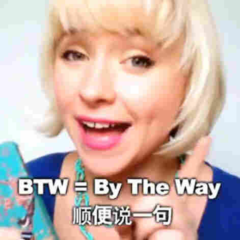 """In one video on her hit video blog OMG! Meiyu, Jessica Beinecke teaches slang terms like """"BTW,"""" """"JK"""" and """"whatev."""""""