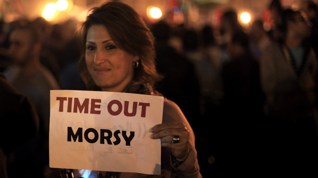 This protester in Cairo's Tahrir Square last night had a message for Egypt's president. (AP)