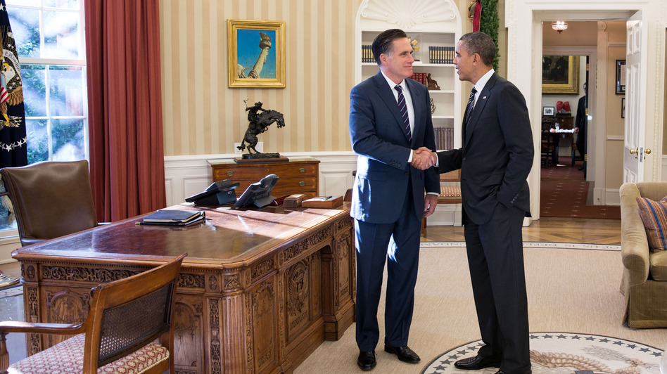 President Obama and former Republican presidential nominee Mitt Romney shake hands in the Oval Office after their lunch Thursday at the White House. (UPI/Landov)