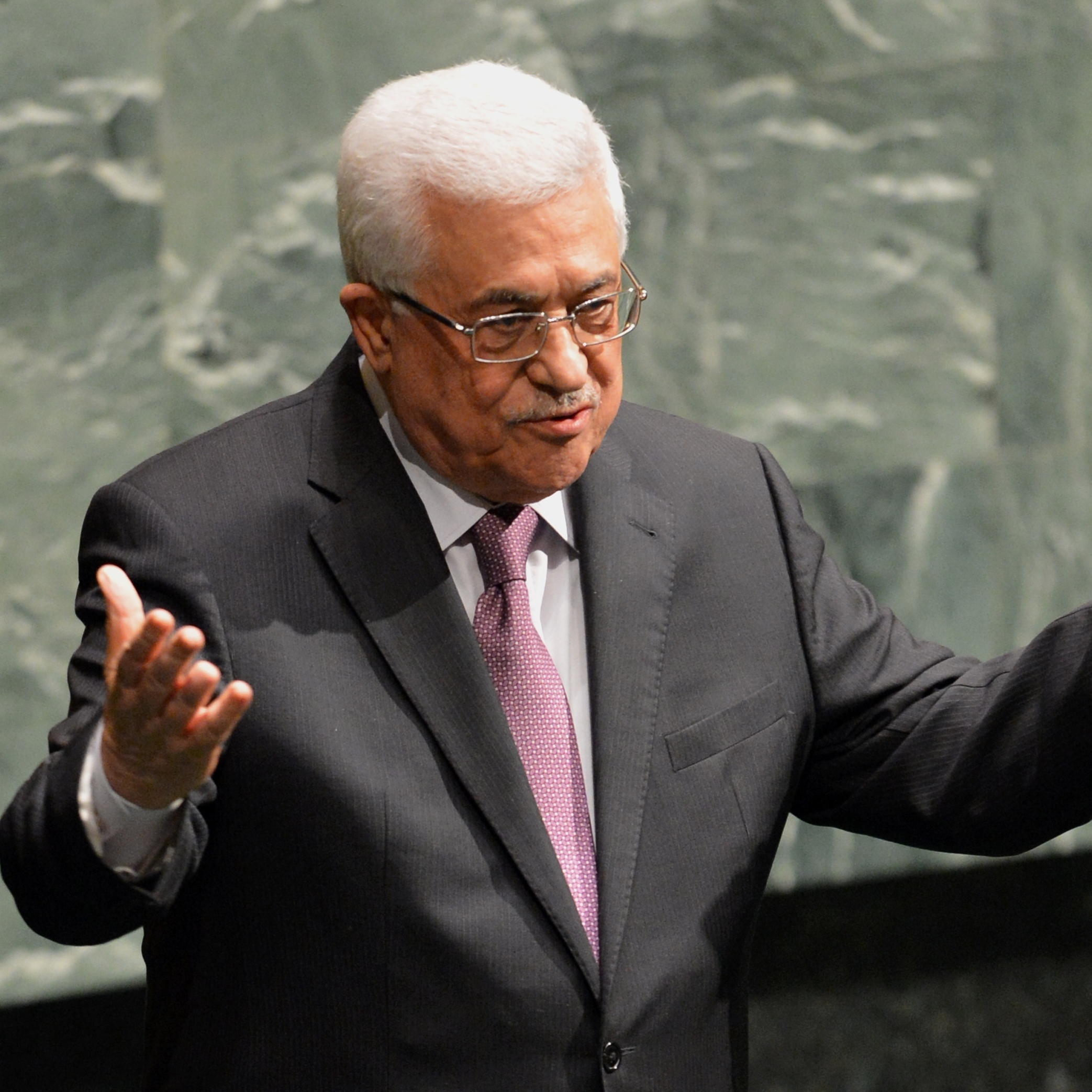 Palestinian Authority President Mahmoud Abbas after he spoke to the United Nations General Assembly.