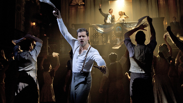Ricky Martin performs as Ché in the current Broadway run of Evita. Martin will leave the show in January 2013. (Richard Termine)