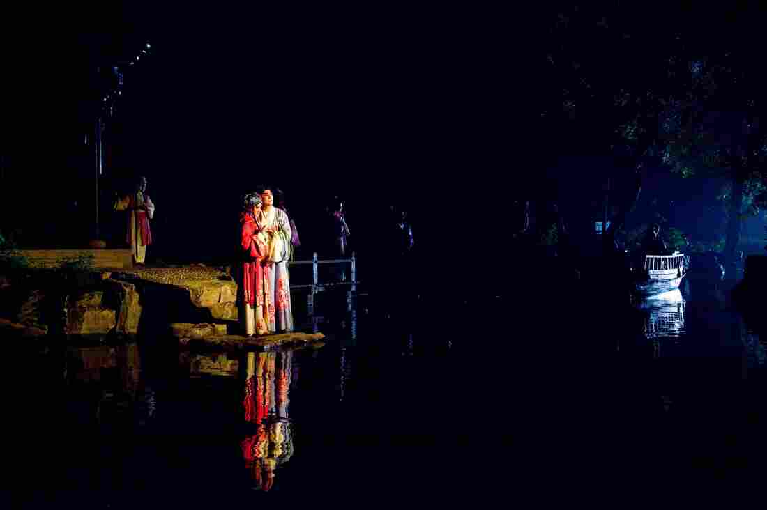 Characters Du Liniang (left) with her love, Liu Mengmei, in a 2010 production of Peony Pavillion.