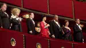 Honorees (from left) James Levine, Elizabeth Taylor, Paul Simon, Chita Rivera and James Earl Jones stand beside first lady Laura Bush and President George W. Bush during the 25th Kennedy Center Honors in 2002. Rivera was the last Hispanic recipient of the award.
