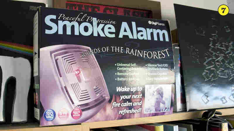 "Sounds of the Rainforest Smoke Alarm — This gag gift box, once sold by The Onion, came packed with books for Stephen Thompson and sports the NPR shoutout: ""For an additional $9.99 a month, you can have an operator, trained by National Public Radio, call to make sure everything is okay."""