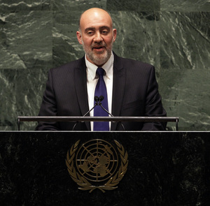 Israel's UN Ambassador Ron Prosor addresses the United Nations General Assembly on Thursday.
