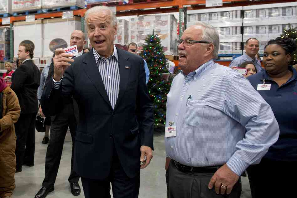 The vice president came prepared with his Costco card. At right