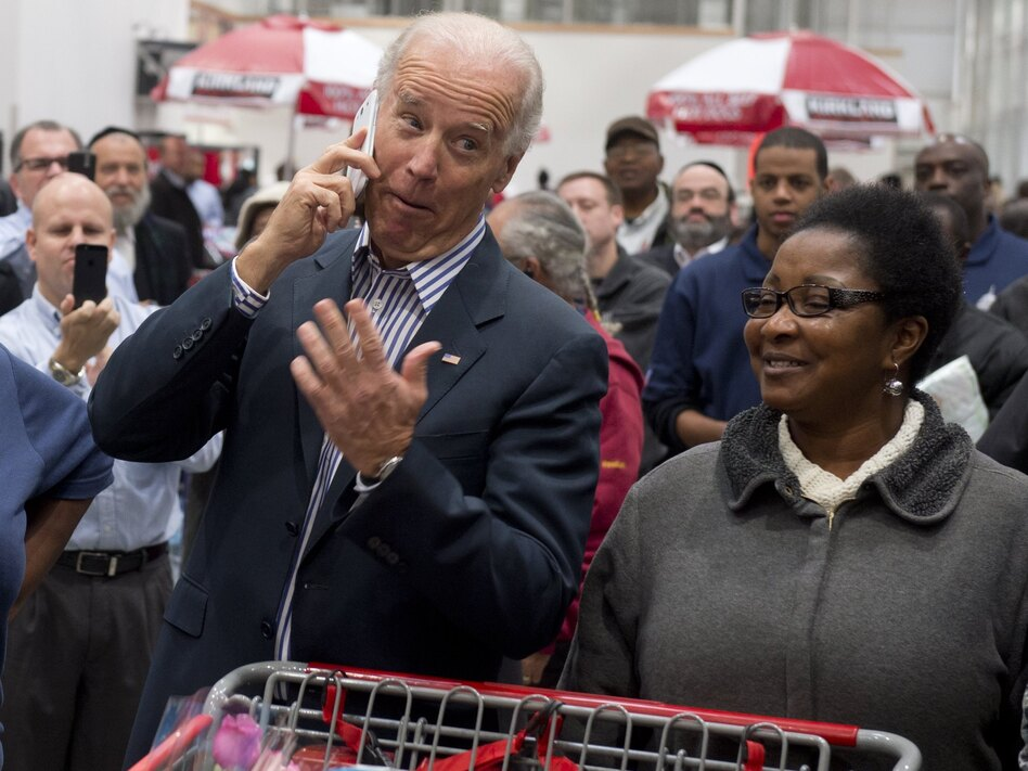 """No, this really is Joe Biden!"" (He borrowed a Costco employee's phone to say hello to someone.)"