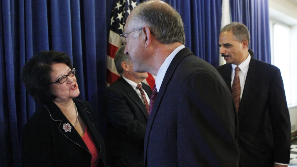 Elouise Cobell, a member of Montana's Blackfeet Tribe, and four other Native Americans led a class-action land use lawsuit against the U.S. government. Cobell is shown here in 2009 with Interior Secretary Ken Salazar after an announcement on the settlement of the lawsuit. Cobell died last year. (AP)