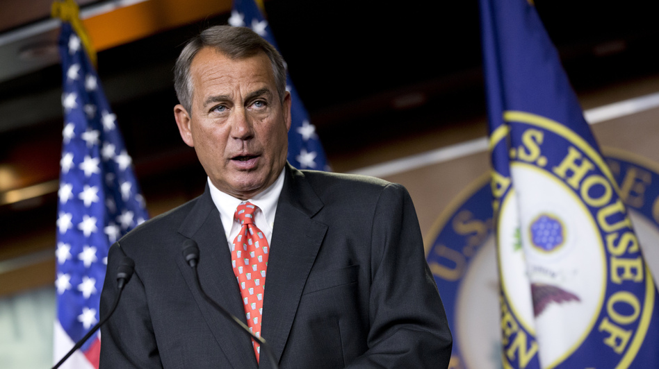 House Speaker John Boehner of Ohio speaks to reporters on Capitol Hill Thursday after private talks with Treasury Secretary Timothy Geithner. (AP)