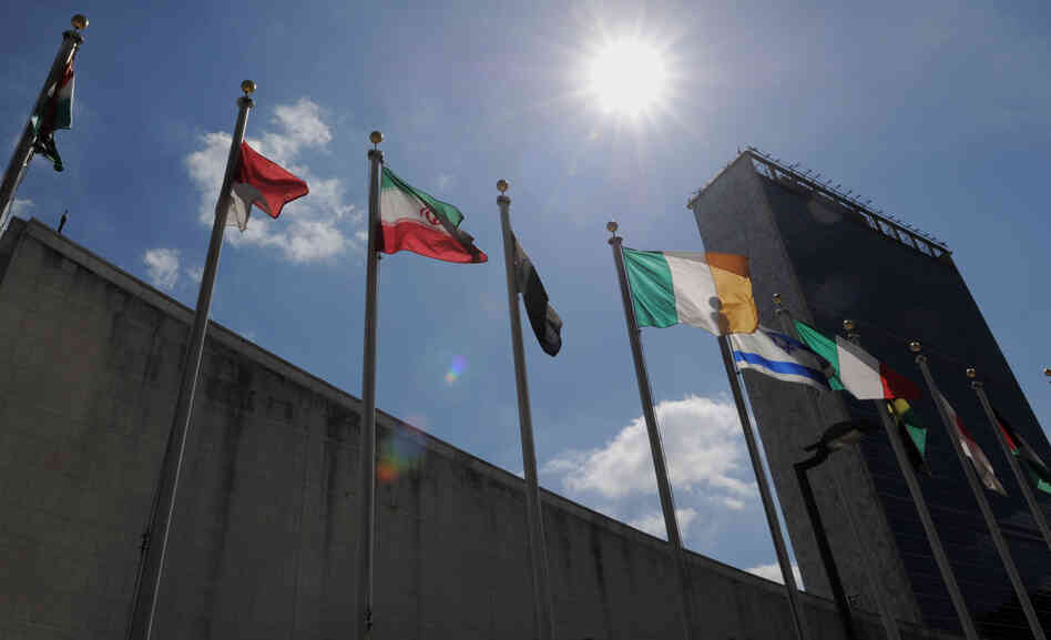 Flags from nations around the world fly outside the U.N. building in N