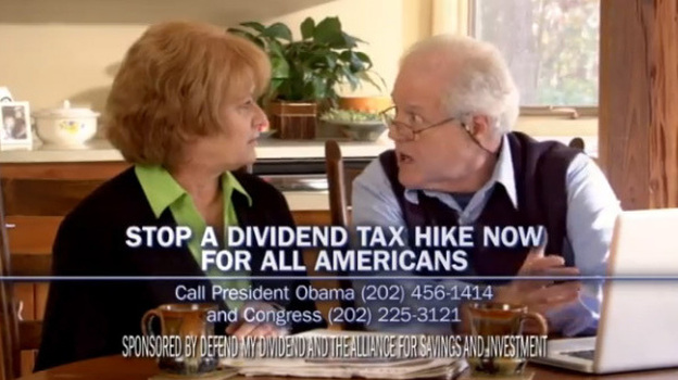 A screen grab from an ad by the Defend My Dividend campaign, which is funded by utilities and other companies. They don't support a proposed increase in taxes from investment income. (YouTube)