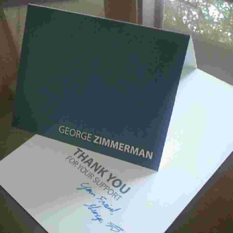 The signed card that donors will get from George Zimmerman.