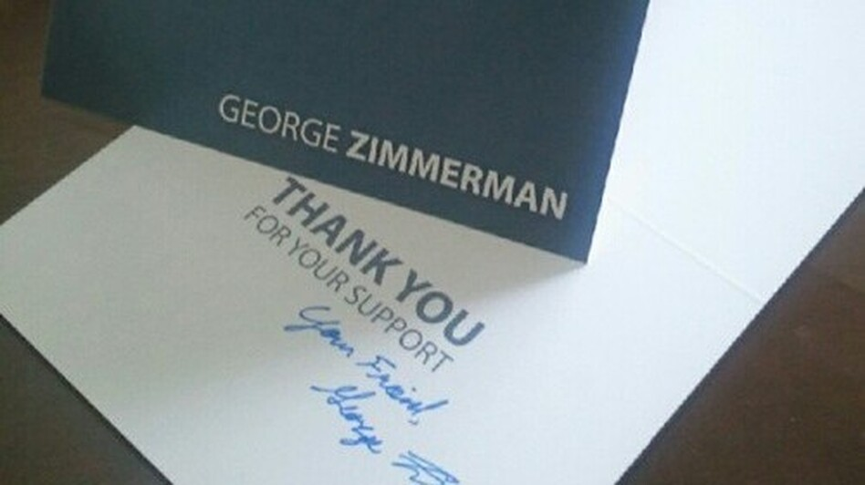 The signed card that donors will get from George Zimmerman. (GZDefenseFund.com)