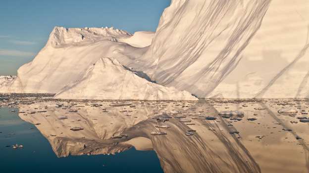 An iceberg that likely calved from Jakobshavn Isbrae, the fastest glacier in western Greenland. (Science/AAAS)
