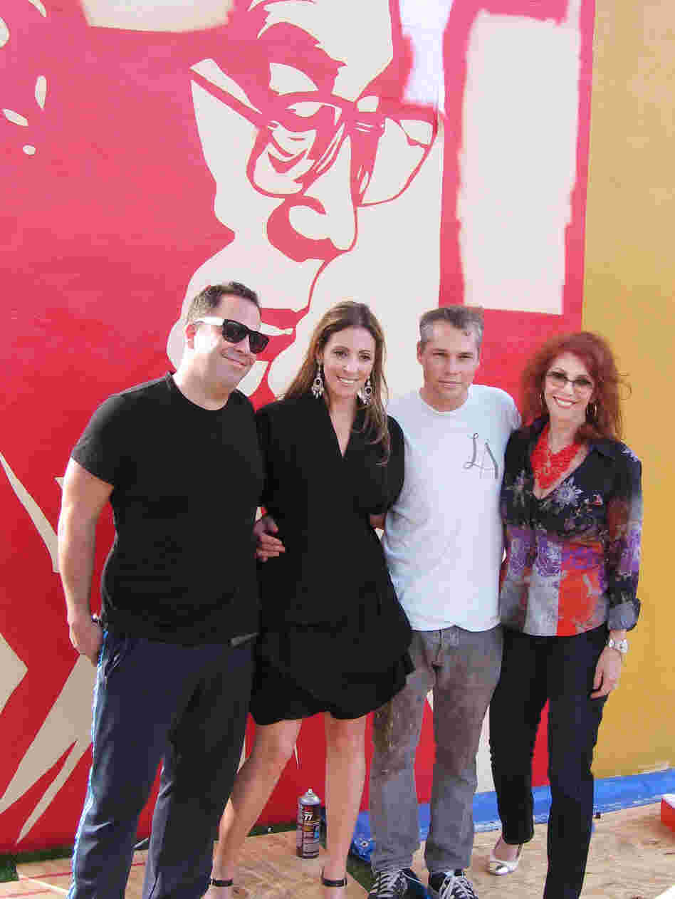 Tony Goldman's son, Joey (far left), and daughter, Jessica (center), pose with artist Shepard Fairey and their mother, Janet Goldman.