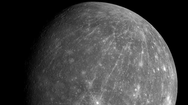 Researchers say they have identified traces of ice in craters on Mercury, seen here in this Oct. 8, 2008, image from the Messenger spacecraft. (NASA)