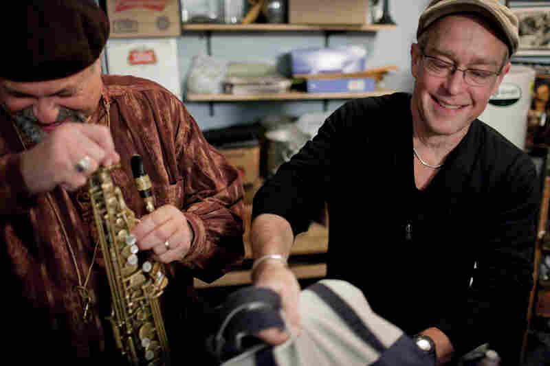 "Joe Lovano (left) and Dave Douglas, backstage in the Village Vanguard ""kitchen."""