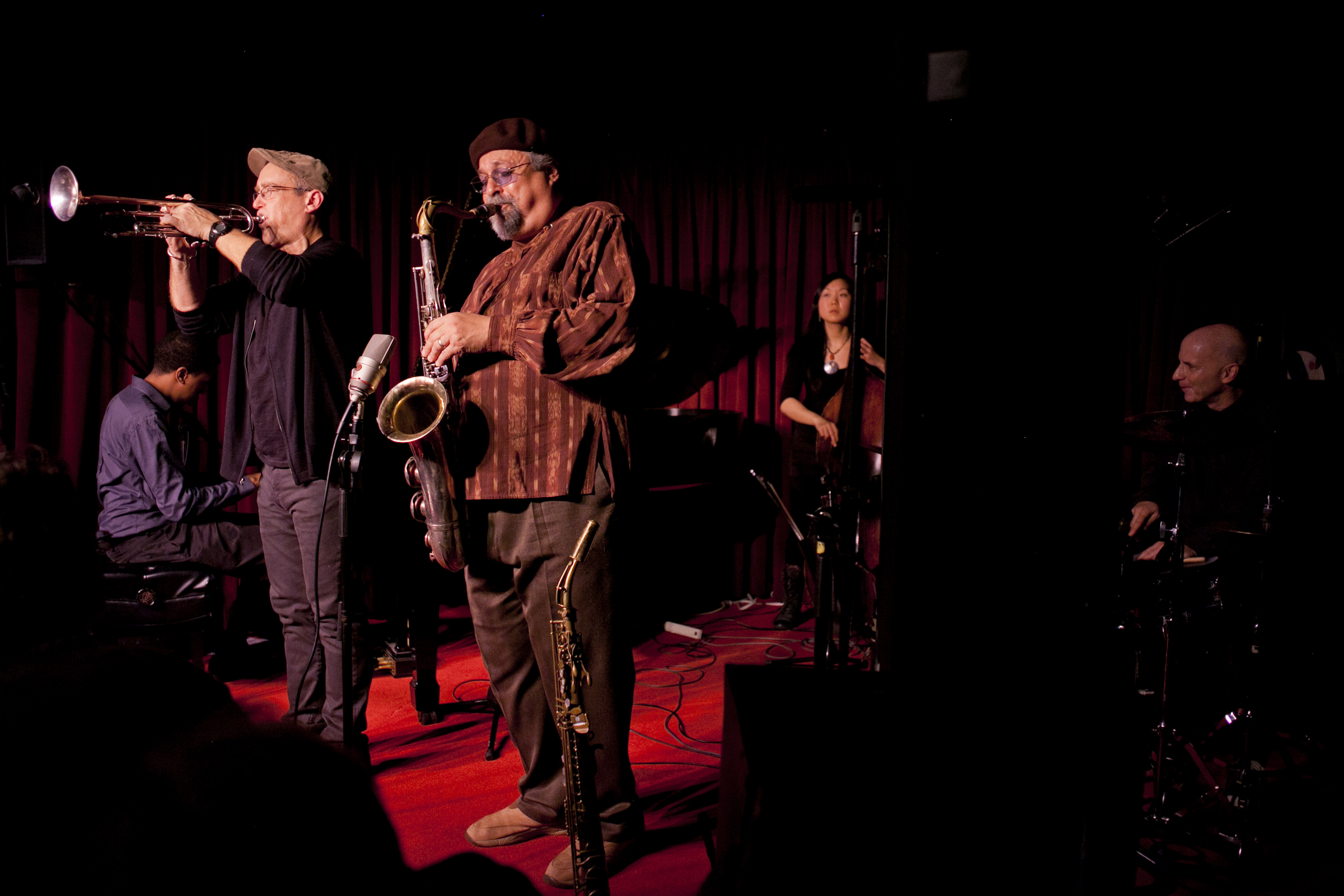 The Sound Prints Quintet is: (L-R) Lawrence Fields, Dave Douglas, Joe Lovano, Linda Oh, Joey Baron.