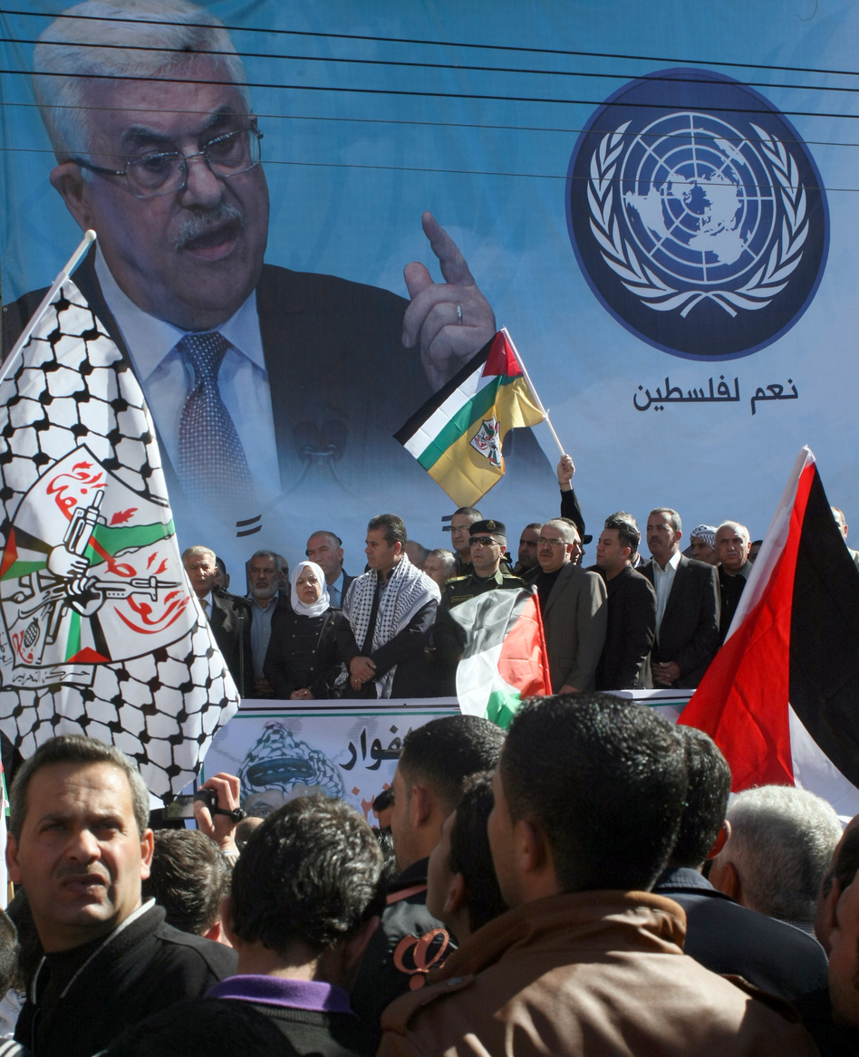 In the southern West Bank city of Hebron today, supporters of Palestinian leader Mahmud Abbas gathered in anticipation of today's vote at the U.N.