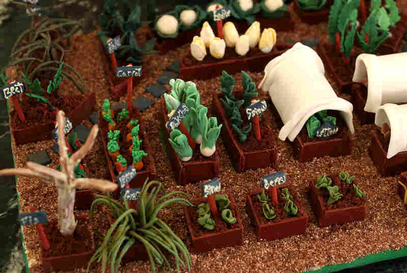 A replica of the White House kitchen garden is part of the edible display.