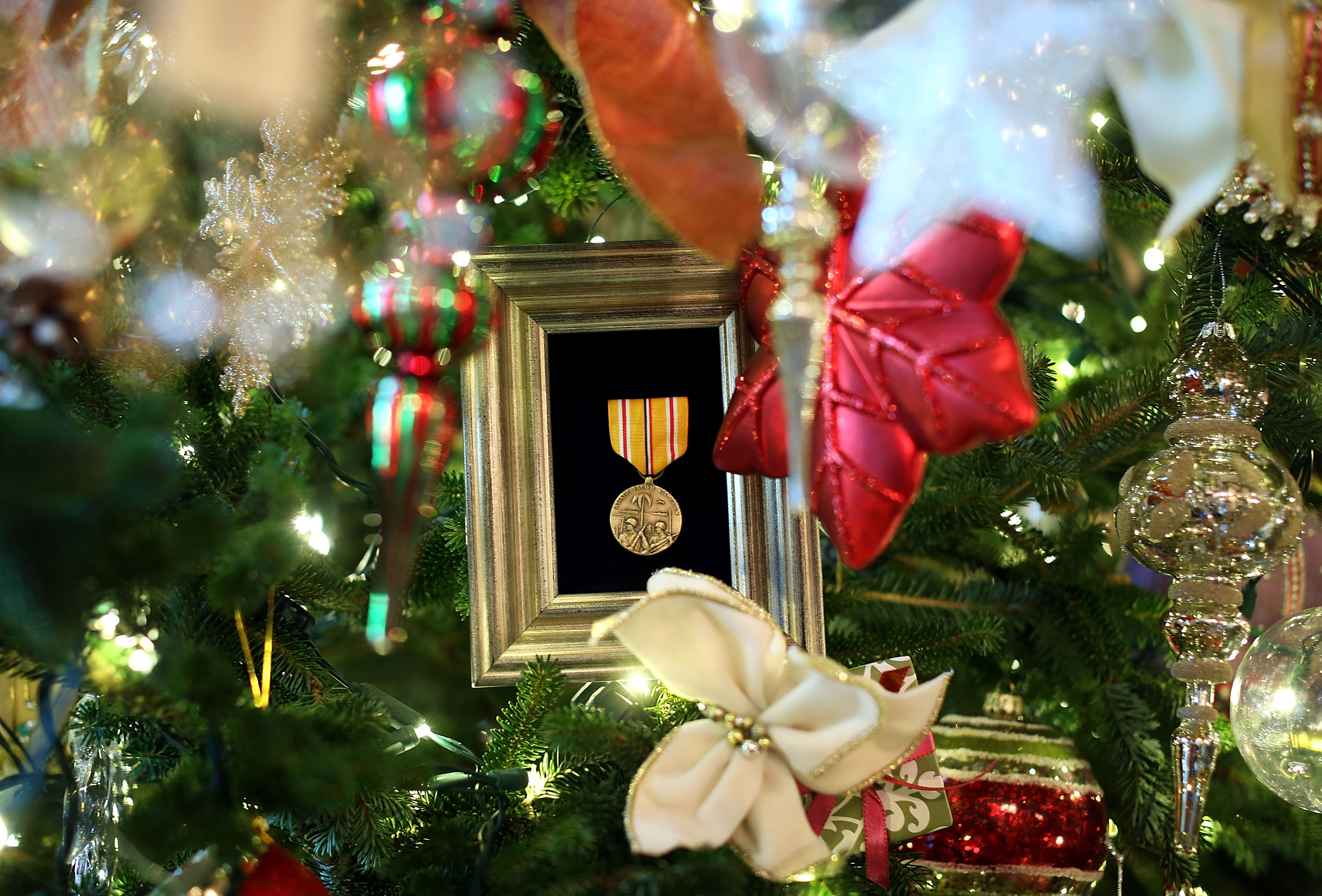 Many ornaments and other decorations celebrate members of the military, veterans and their families.