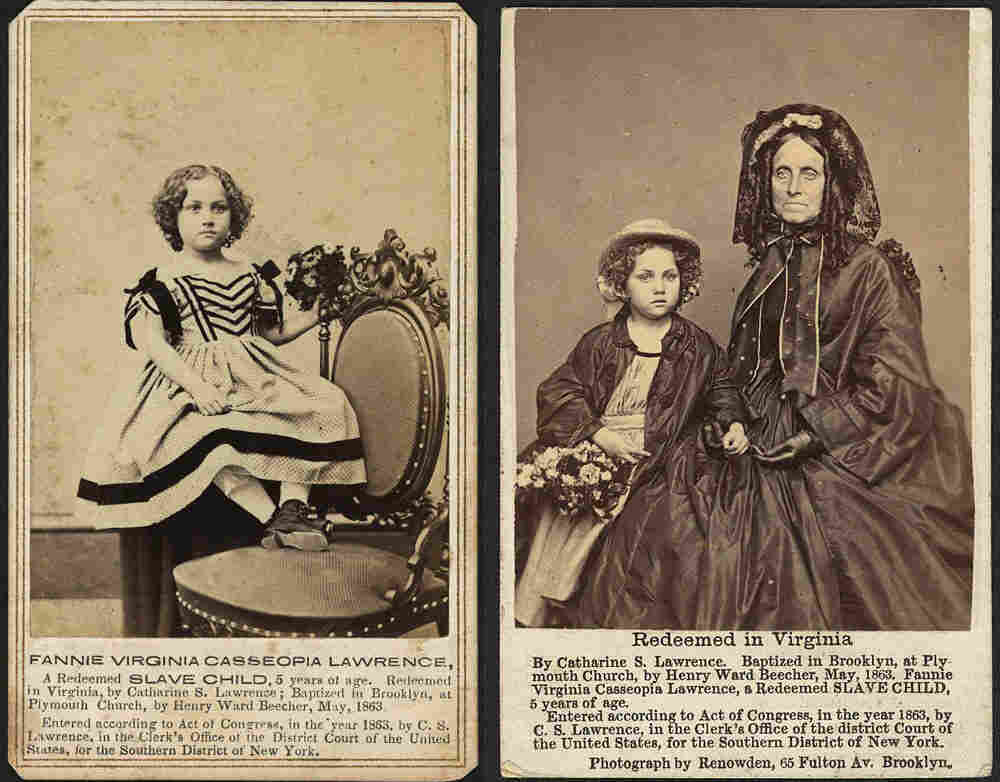 Fannie Virginia Casseopia Lawrence, a freed slave, was adopted by Catherine S. Lawrence. Abolitionist Henry Ward Beecher presented Fannie to his congregation at Plymouth Congregational Church in Brooklyn, N.Y.