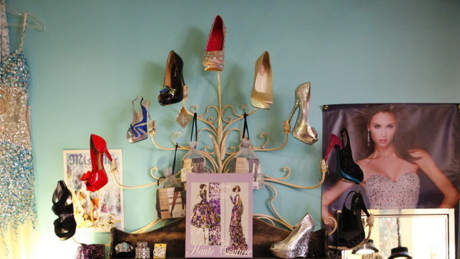 Beauty pageant contestants often need multiple pairs of shoes, like these seen at Deja Vu, per pageant to accompany different outfits. That alone can get pricey. (NPR)