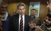 Then-envoy Chris Stevens speaks to local media in Benghazi, Libya, on April 11, 2011.