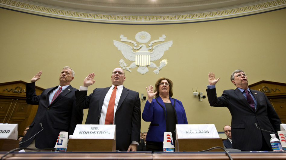 Witnesses are sworn in on Capitol Hill on Oct. 10, before testifying at a House Oversight and Government Reform Committee hearing on the attack on the U.S. Consulate in Benghazi, Libya. (AP)