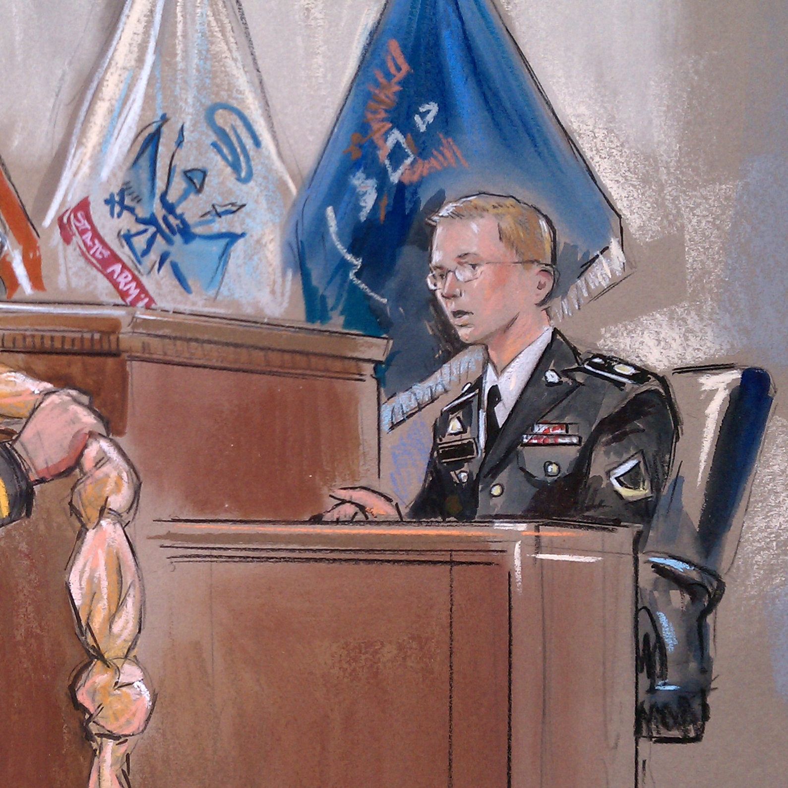 This artist rendering shows Army Pfc. Bradley Manning, right, being shown a bedsheet as he testified in his pretrial Wikileaks hearing in Fort Meade, Md.