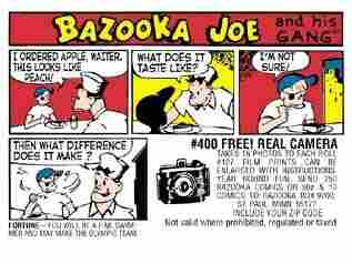"The latest ""comic of the week"" on Bazooka Bubble Gum's Facebook page."