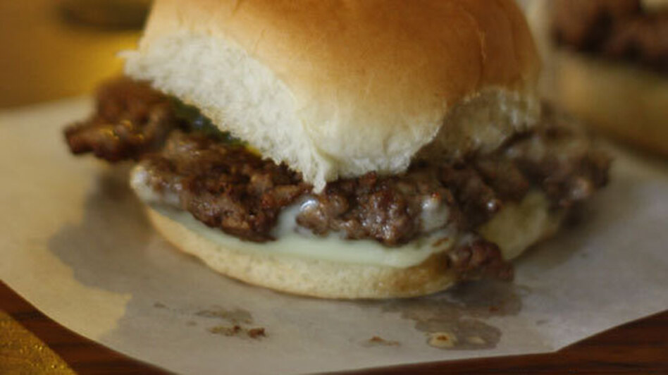 A softly-lit Booches' burger, back in the days of the Hostess bun. (Flickr.com)
