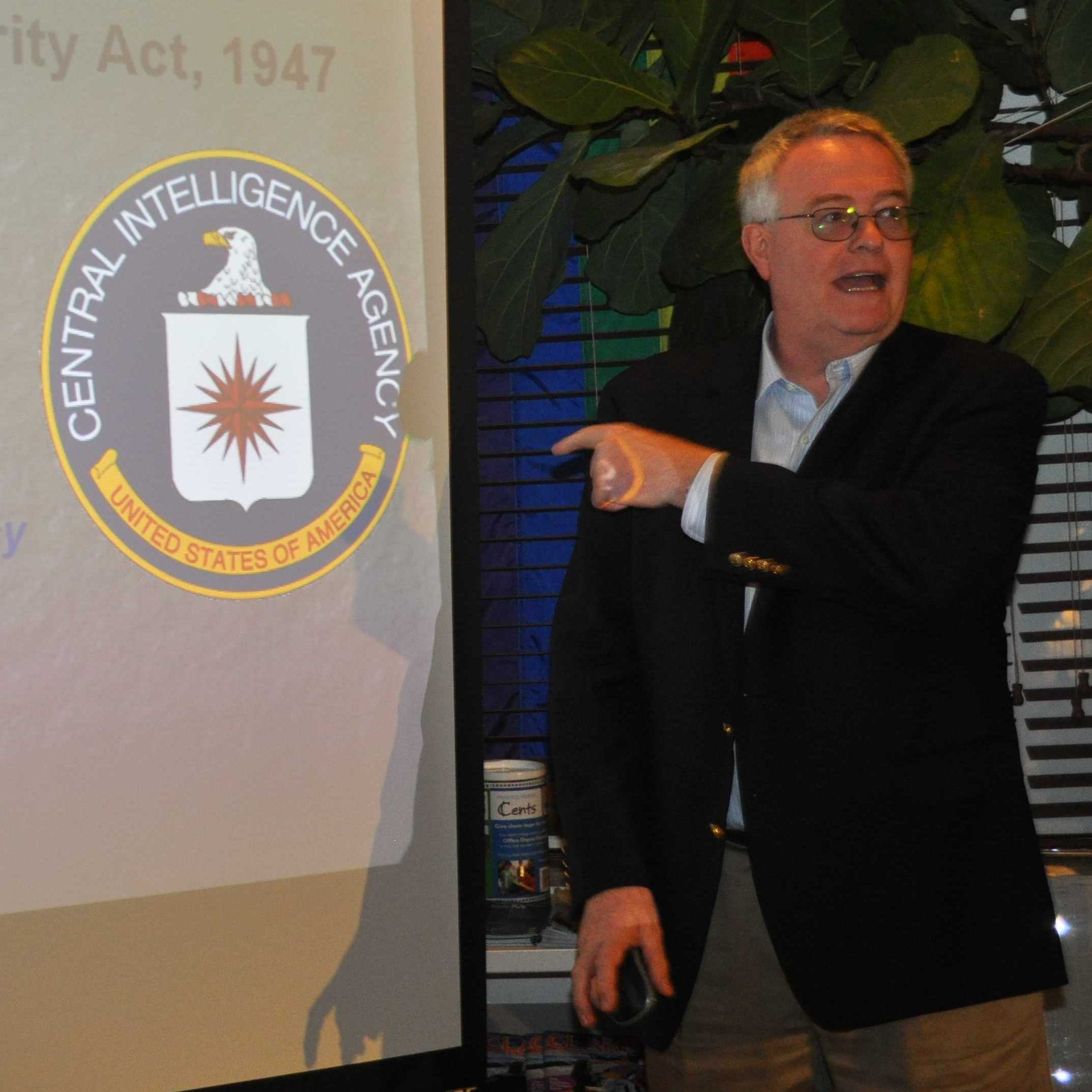 Michael Barber, the CIA'�s LGBT Community Outreach and Liaison program manager, speaks Nov. 28 at a Miami-Dade Gay & Lesbian Chamber of Commerce at the LGBT Visitor Center in South Beach.