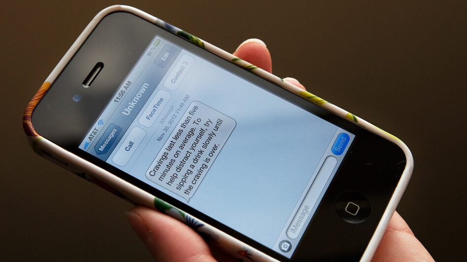 In the U.K.-based program called Txt2stop, researchers sent smokers encouraging text messages, like the one above, to help them quit. (NPR)